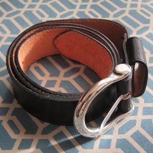 Eddie Bauer Black Leather and Brass Belt, L